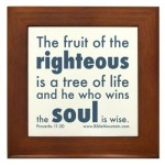 The fruit of the righteous is a tree of life and he who wins the soul is wise. Proverbs 11:30.